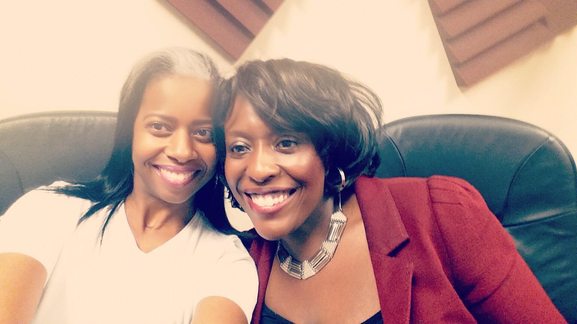 Kunbi Tinuoye in the studio with with Kelly Burton