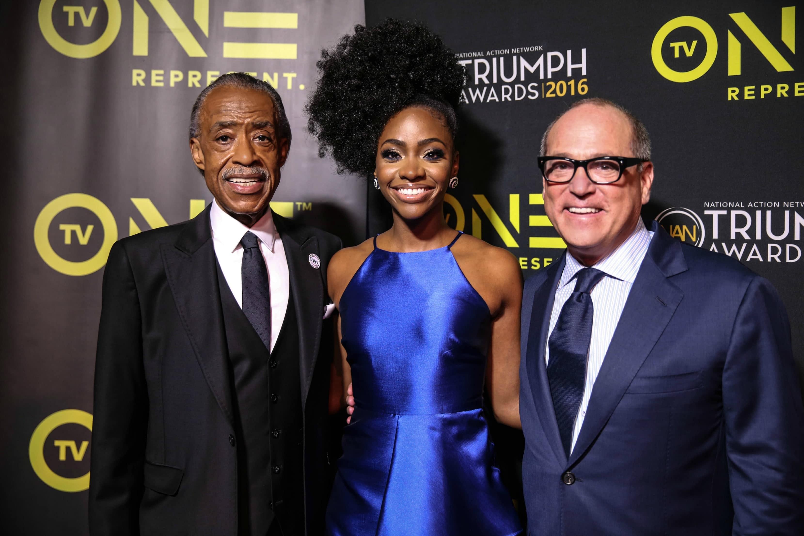 The 2016 Triumph Awards: Rev Al Sharpton, Teyonah Parris and Brad Siegel (photo credit: Robin Marshall)